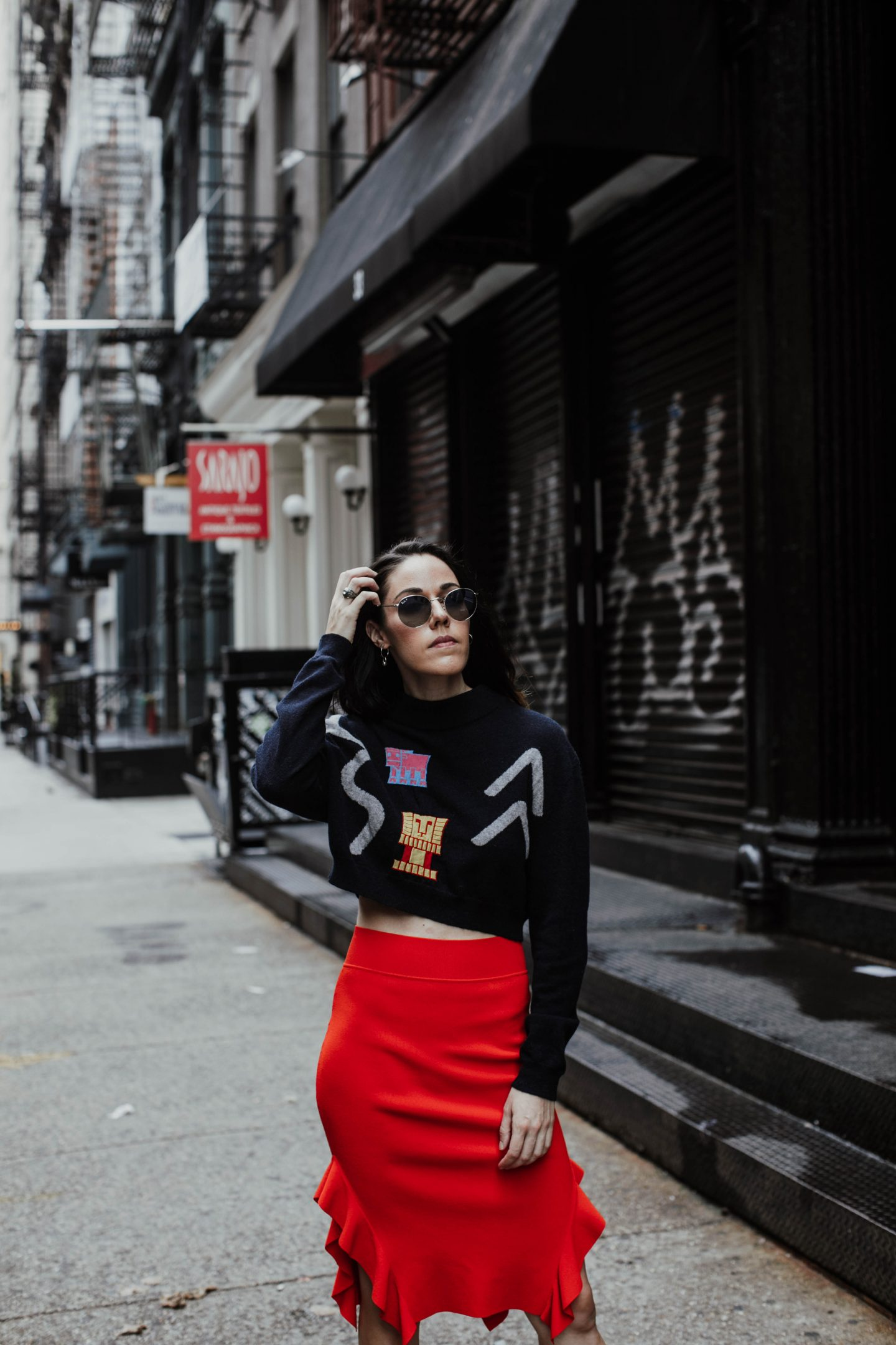 Opening Ceremony Side Flounce Skirt x Nike Cortez x Peter Pilotto Abstract Crop Sweater x Ray Ban x See By Chloe Backpack