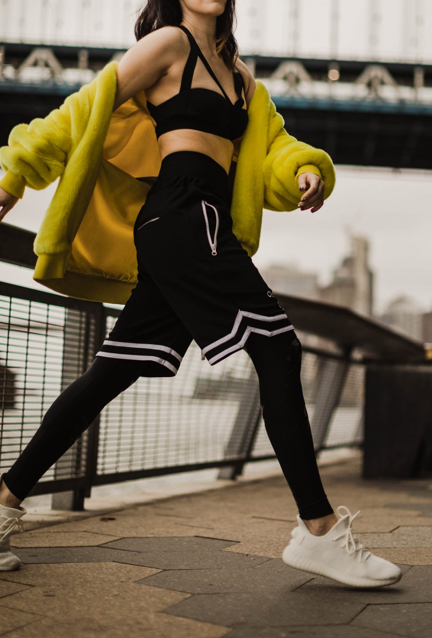 Tibi Luxe Faux Fur Track Jacket Rent The Runway x Ultracor Bolt Silk Legging x Carbon38 x Yeezy Ultra Boost 350